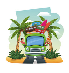 Cartoon couple bus baggage surfboard on the vector
