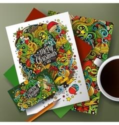 Cartoon doodles New Year corporate identity set vector image