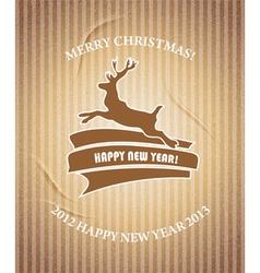 Christmas deer Vintage Christmas card vector image