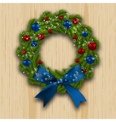 Christmas wreath Green branch of fir with red vector image