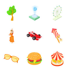 city park icons set cartoon style vector image
