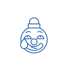 clown emoji line icon concept clown emoji flat vector image