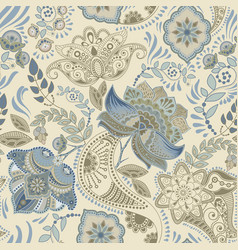 colorful floral seamless pattern paisley ornament vector image