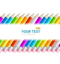 Colorful rainbow pencil text banner vector image