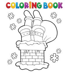 Coloring book chimney with santa claus vector