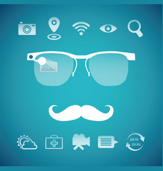 Concept of virtual mobile pc glasses functions vector