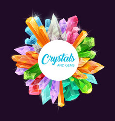crystals gemstones magic mineral rocks frame vector image