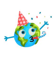 cute cartoon funny earth planet emoji wearing vector image