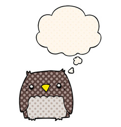 Cute cartoon owl and thought bubble in comic book vector