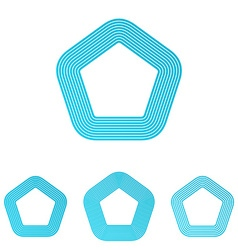 Cyan line pentagon logo design set vector
