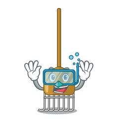 diving cartoon rake leaves with wooden stick vector image