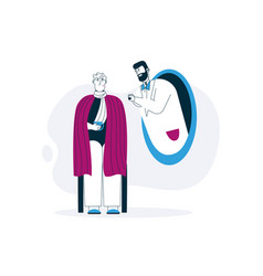 doctor listens into stethoscope remote diagnosis vector image
