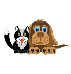 Dog and cat on white background vector