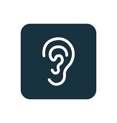 Ear icon Rounded squares button vector