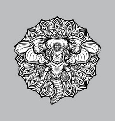 elephant mandala design outline vector image