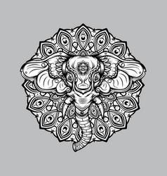 Elephant mandala design outline vector