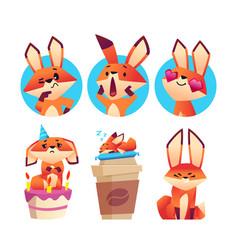 Emotional foxes avatars cute cartoon fox sleep vector