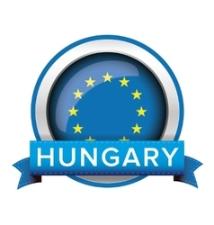 EU flag button with Hungary ribbon vector image