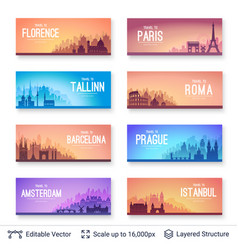 European famous city scapes set vector