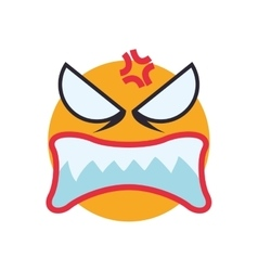 Face angry sphere expression cartoon icon vector