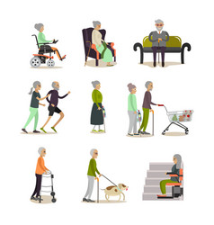 flat icons set of aged people cartoon vector image