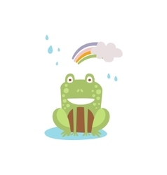 Frog SmilingSittin Under Rain And Rinbow In Autumn vector image