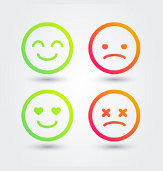 Good bad positive negative emoji icons set vector