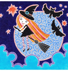 Halloween marker postcard with witch little girl vector