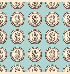 hand draw vintage coin seamless pattern vector image