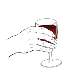 Hand holding glass of wine vector
