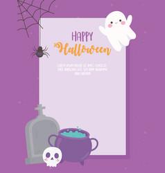 happy halloween banner cauldron skull tombstones vector image