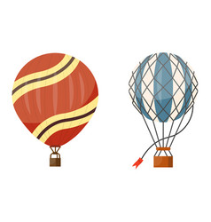 Hot air balloon icons set summer vector