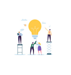 Idea with light bulb and business people character vector