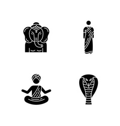 Indian culture black glyph icons set on white vector
