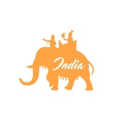 Indian maharaja on elephant orange silhouette vector image