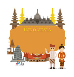 Indonesia landmarks frame vector