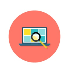 Internet Search Laptop with Magnifying Glass vector