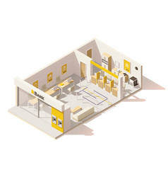Isometric low poly bank interior vector
