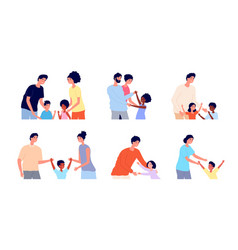 kids adoption kid with new parents father mother vector image