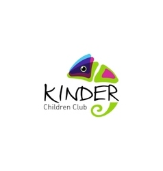 Kinder - logo children club with fun chameleon vector