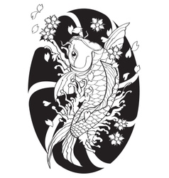 Koi fish Tattoo Japanese style lined pattern draw vector
