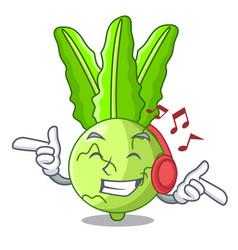 Listening music cooking food fresh organic vector