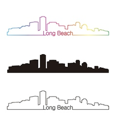 Long Beach skyline linear style with rainbow vector