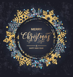 Merry christmas handwriting script lettering vector