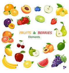 mix of fruits and berries colorful icons set vector image