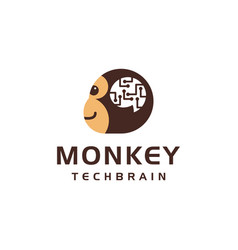 Monkey head with digital connection circuit brain vector