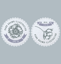 monochrome labes with poppy flower vector image