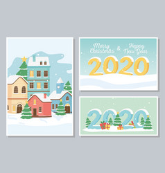 new year 2020 greeting cards village houses snow vector image