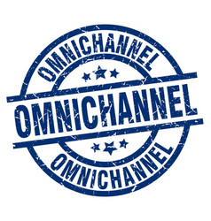 Omnichannel blue round grunge stamp vector