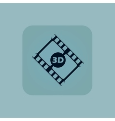 Pale blue 3D movie icon vector image